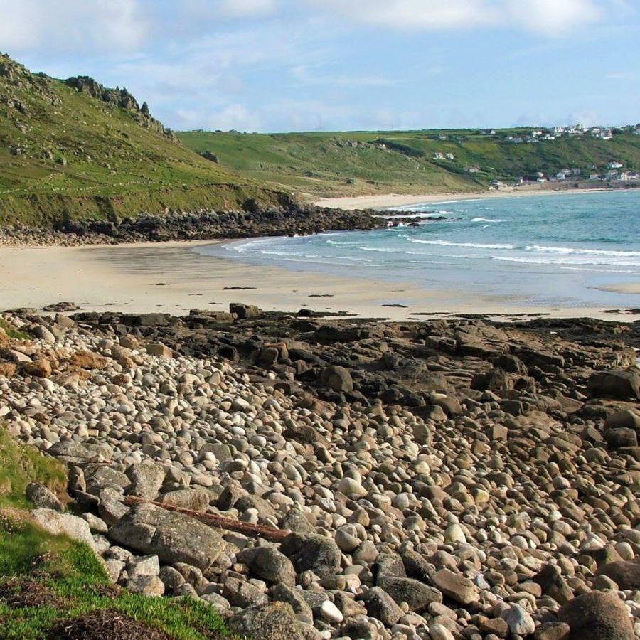 Empty beach at Gwenver