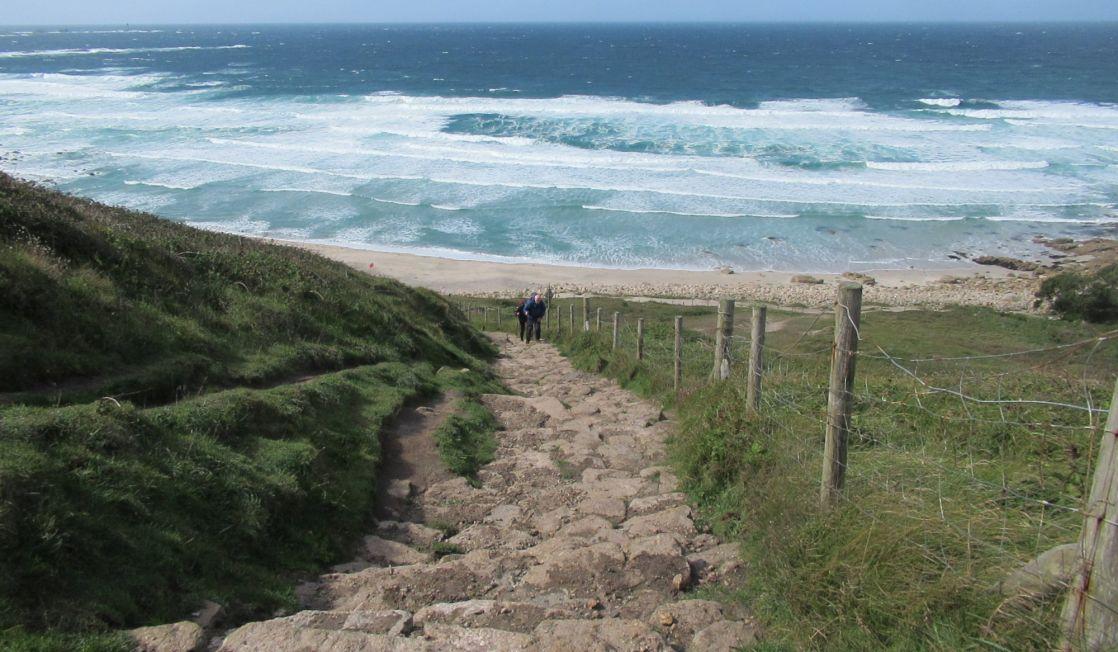 Steps at Gwenver beach, Cornwall