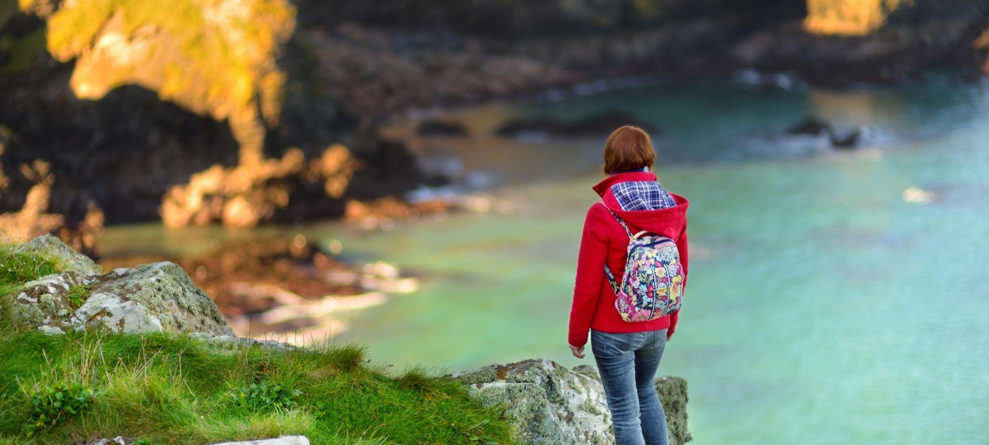Female walker on the cliffs